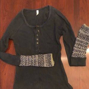 Free people black tight waffle long sleeve